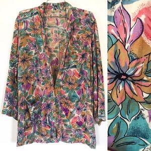 Vintage 1980's rainbow floral lightweight blazer